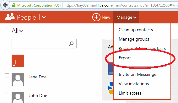 hotmail-contacts-export