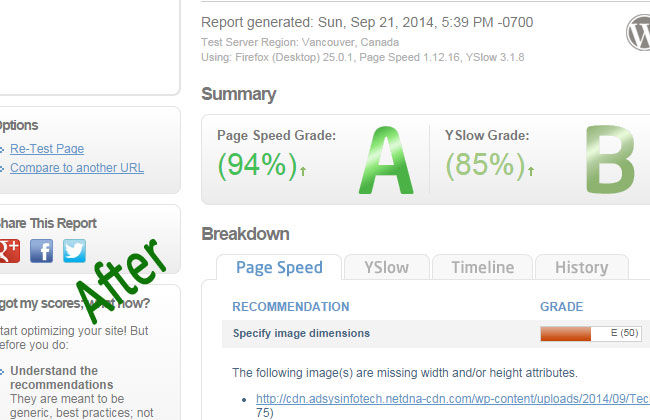 facebook optimization gtmetrix