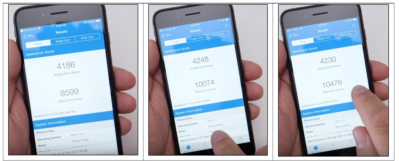 Geekbench Scores for iOS 11.0.2