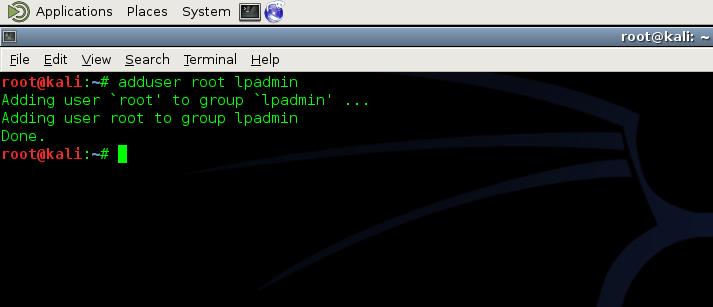Add user to lpadmin Group