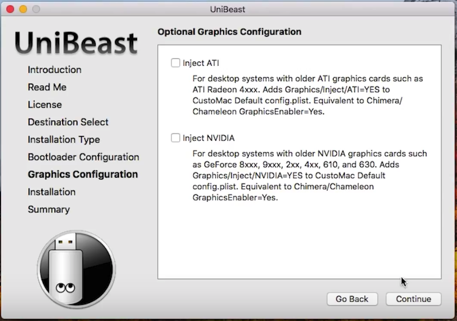 Graphics Configuration page