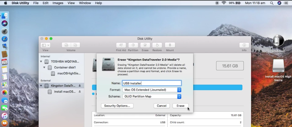 How to Create macOS High Sierra Bootable USB Installer with UniBeast
