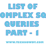 List of Complex SQL Queries Part 1