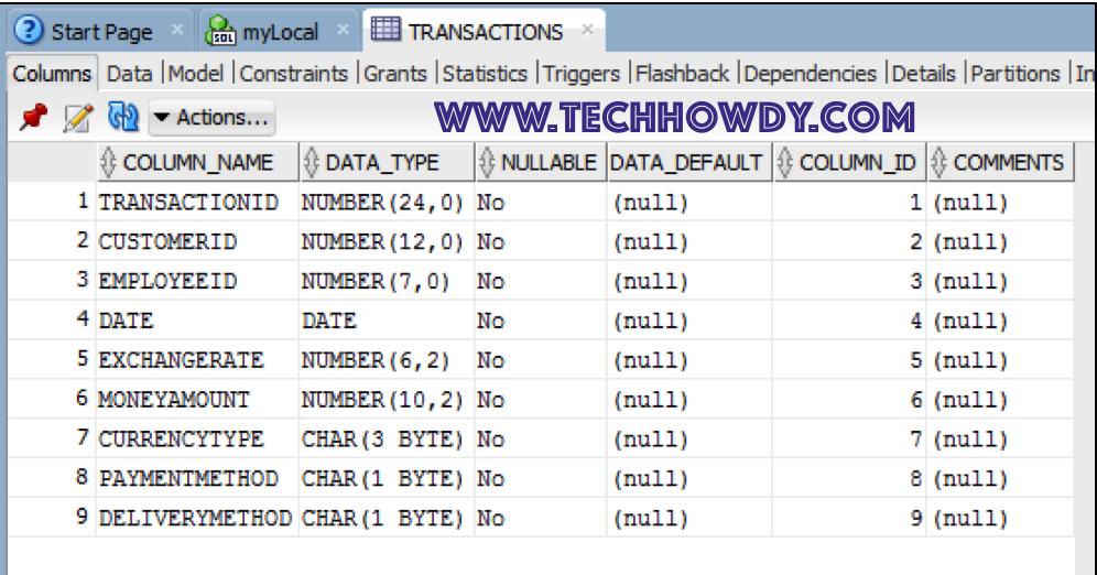 Create Sample Transaction Table