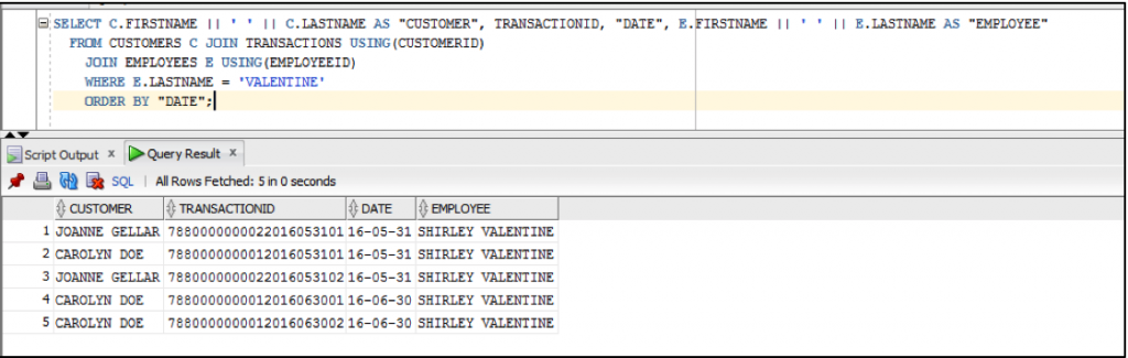 DISPLAYS THE TRANSACTIONS MADE BY THE EMPLOYEE