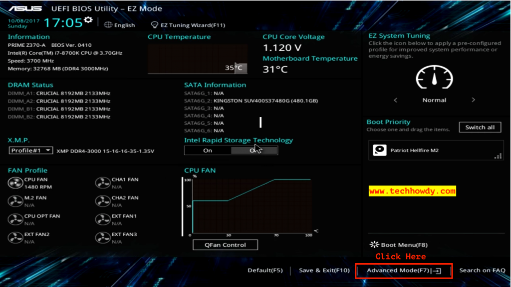 Install Hackintosh macOS High Sierra on Intel Core i7 8700K - Bios