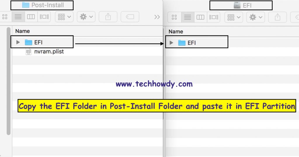 Copy EfI Folder to Partition